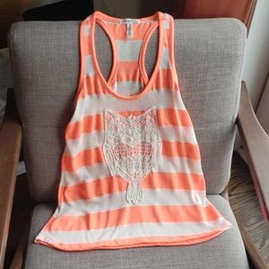 Aeropostale neon coral owl muscle tee